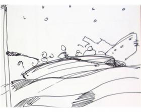Kathleen Kemly's sketch of Life Boat 11 rowing away from the sinking Titanic