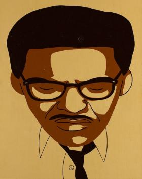 A silkscreened Portrait of Bayard Rustin