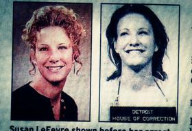 Susan LeFevre in two photos from the 1970s. One is her high school yearbook photo. The other, a mug shot.