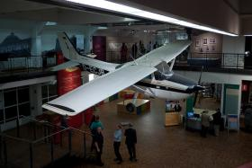Mathias Rust's Cessna, on display in Berlin. 