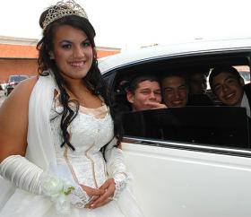 A young woman celebrates her quinceanera at Northgate Mall.