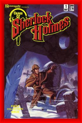 Cover of a comic book shows Sherlock Holmes with a pistol skulking through a spooky graveyard