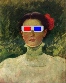 Portrait of Maggie Wilson watching a 3-D movie