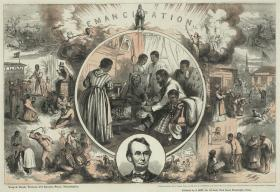 A sunny depiction of emancipation, featuring Lincoln's head and a family of former slaves gathered around a hearth