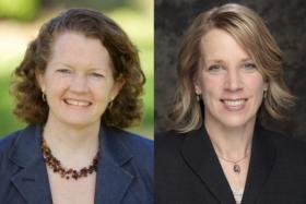 Suzanne Dale Estey, left, and Sue Peters are running for the seat on the Seattle School Board being vacated by Michael DeBell.
