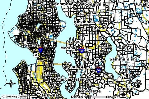 King County voting districts on the I-405 corridor.
