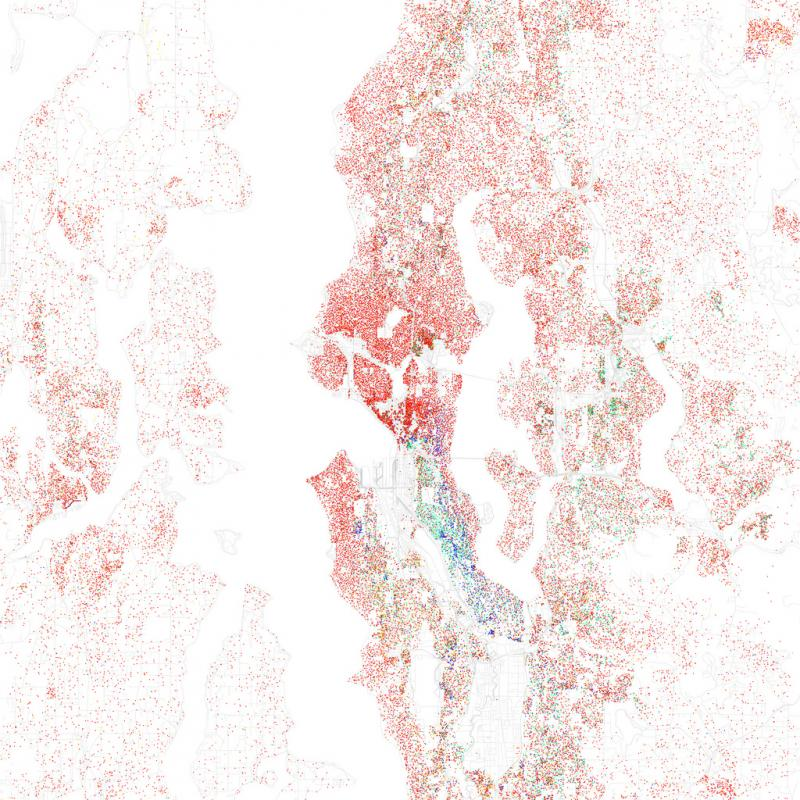 Map based on 2010 census date. Red = non-Hispanic white, blue = African-American, green = Asian-American, orange = Hispanic, yellow = other. Each dot represents 25 residents. (Flickr Photo: Eric Fischer)