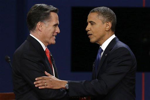 Romney and Obama shaking hands before debate