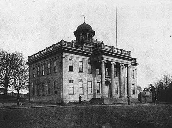 The original University of Washington, built in 1861 by Daniel Bagley and Arthur Denny, near what's now the Fairmont Olympic Hotel in downtown Seattle.