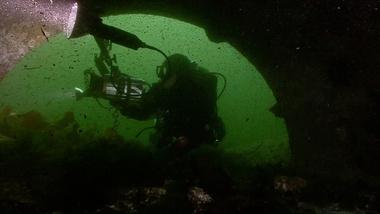 Diver exploring outfall drain in Puget Sound