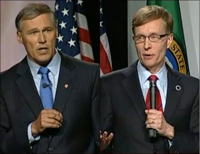 Democrat Jay Inslee and Republican Rob McKenna at a recent debate in Seattle