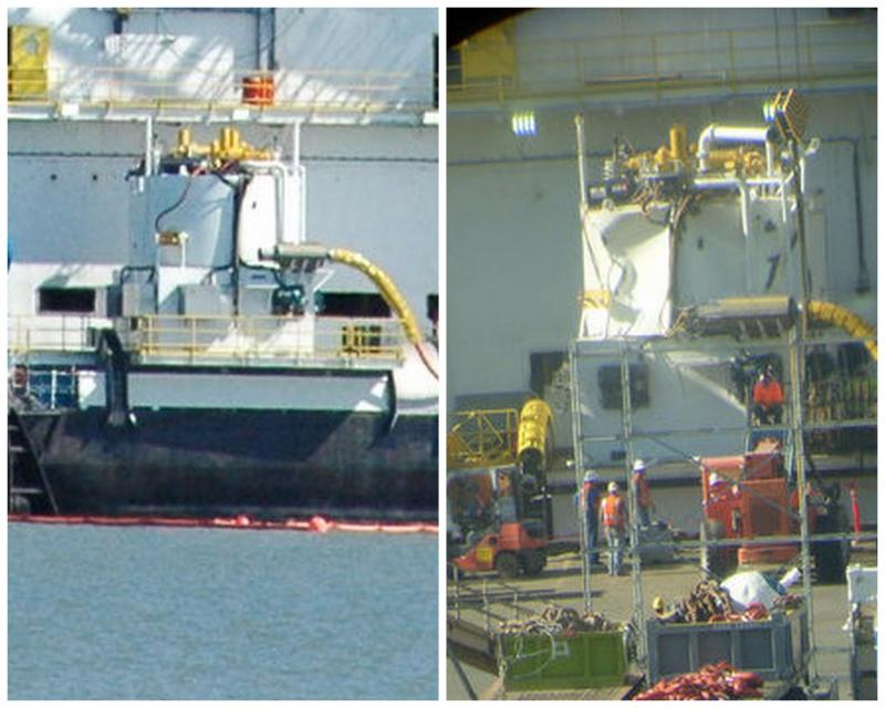 The Arctic Challenger containment dome before (left) and after (right) a failed sea trial.
