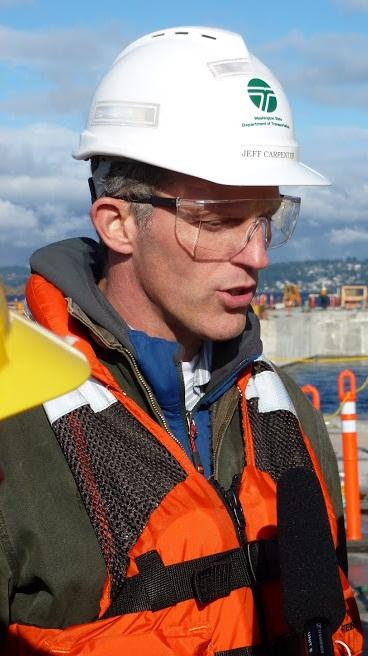 State DOT Construction Engineer Jeff Carpenter explains how workers can repair the cracks found in the concrete pontoons for the new 520 floating bridge.