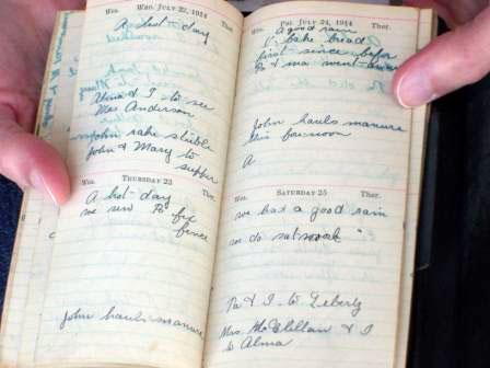 One of the diaries meticulously kept for over 50 years by Christine Deavel's relative, Sarah. Christine used Sarah's entries from 1914 as source material for her poems.