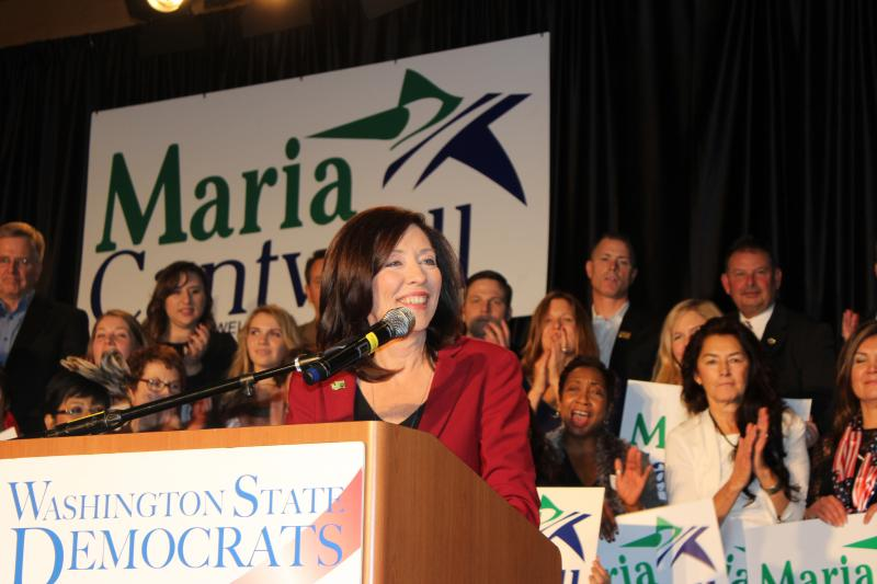 Maria Cantwell speaks at the Democratic Party event at the Westin in Seattle.