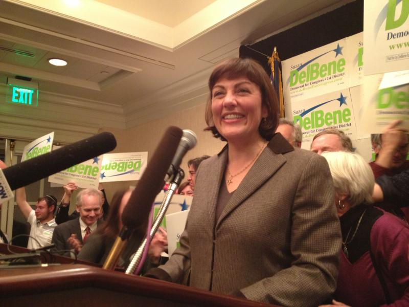 Suzan DelBene speaks at her headquarters in Bellevue.