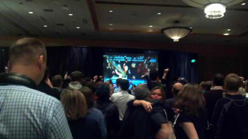 Partygoers celebrate the re-election of President Obama at the Westin.