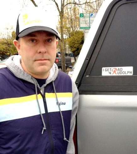 Joel Hammond is the Northwest sales representative for Salomon Sports. His truck displays stickers memorializing his friend, Chris Rudolph. Rudolph was one of three skiers who died in February's avalanche near Stevens Pass.