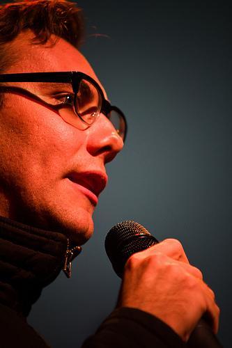 Technology advocate Jacob Applebaum at Ignite Seattle 11.