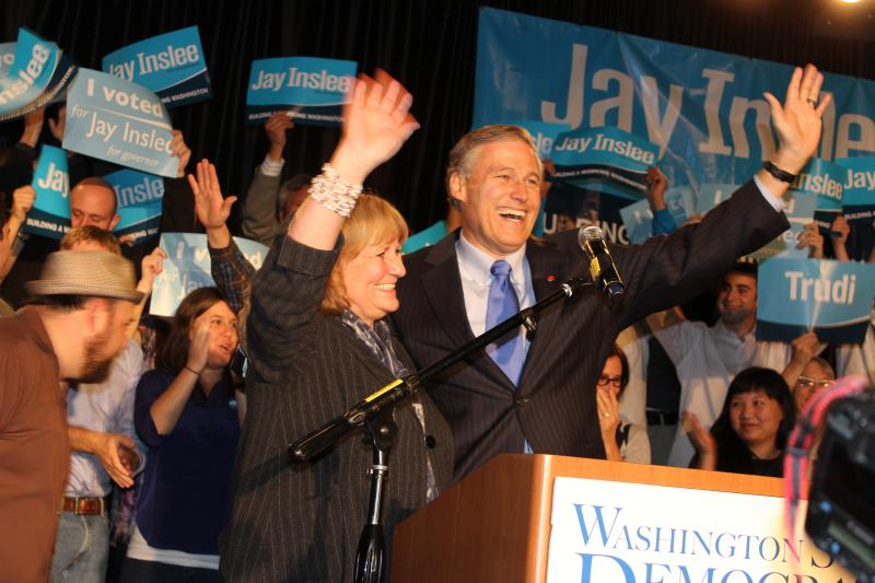 Jay and Trudi Inslee at the Washington State Democratic Party's election night event in Seattle.