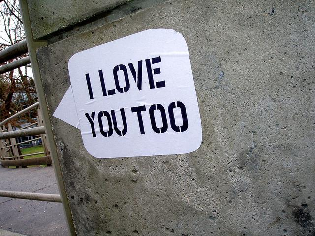 Love messages on concrete walls in Vancouver, BC.