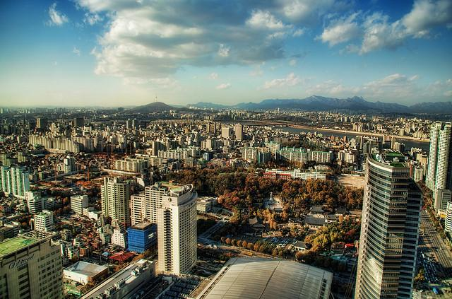 A bird's eye view of Seoul, capital of South Korea with a population of over 10 million.