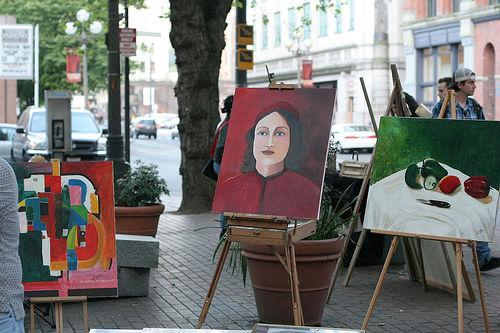 Sidewalk art sale in Pioneer Square, Seattle.