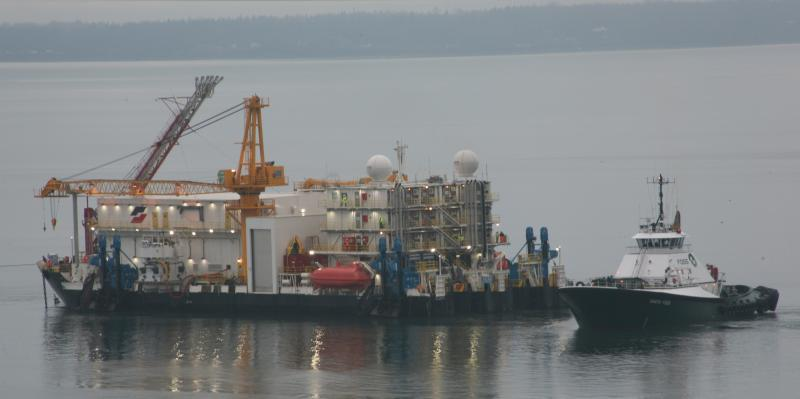 The Garth Foss tug and Shell's Arctic Challenger barge in Bellingham Bay