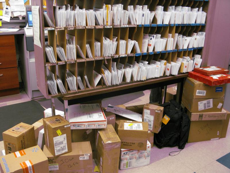 The crowded mailroom at Compass Housing Alliance.