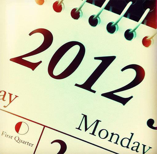 2012 on a calendar