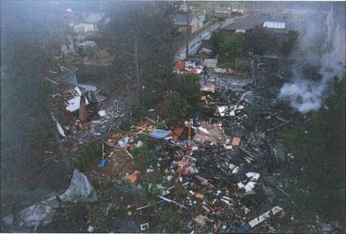 Aerial view of a North Seattle home after it exploded in 2011.