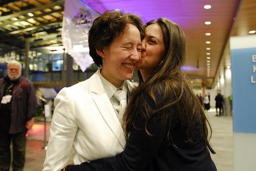 Two of the almost 140 newlyweds married at Seattle City Hall on Sunday.