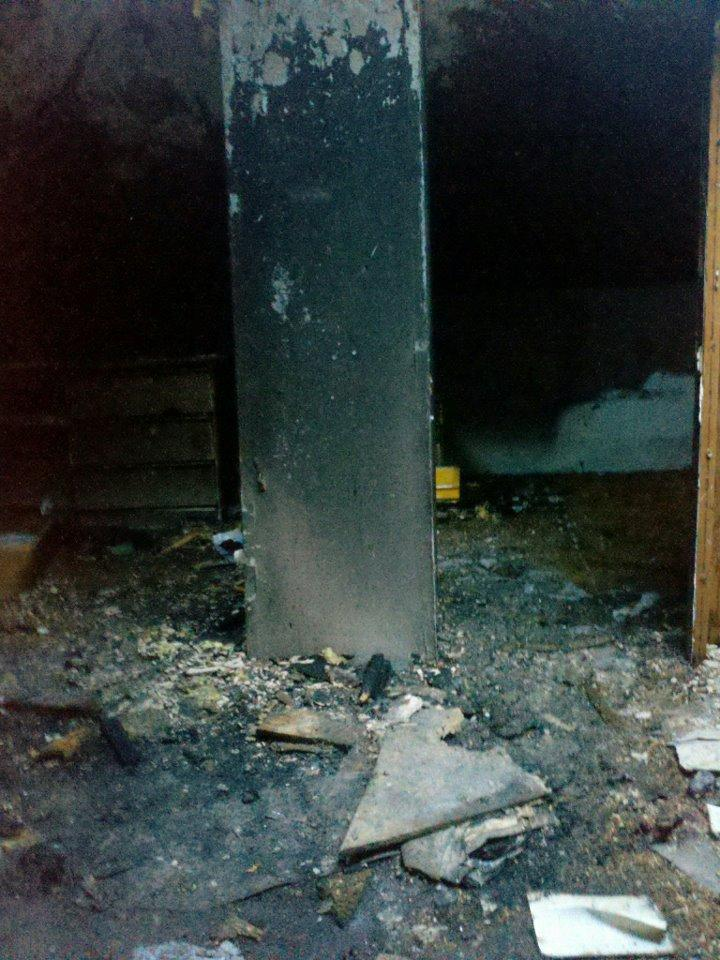 A picture of Dulce's burnt out bedroom after the fire