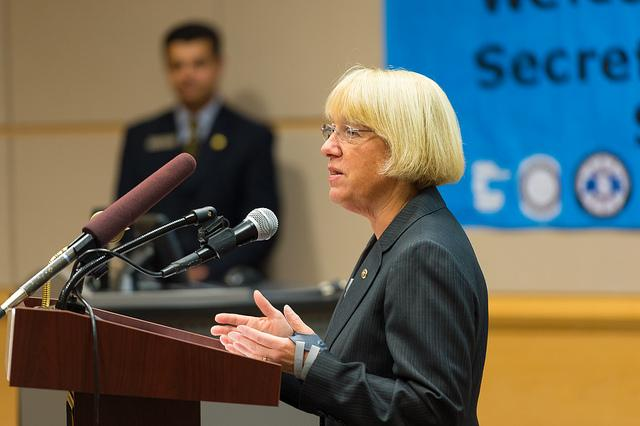 Senator Patty Murray speaking at Bellevue Community College, October 2012.