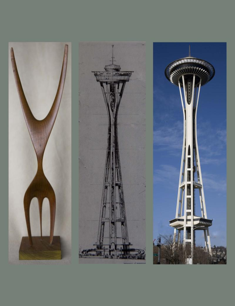 """The Feminine One"" by David Lemon has been owned by the Steinbrueck family since the 1950s. According to Victor Steinbrueck, who helped design the Space Needle, the small wooden sculpture's construction was a source of inspiration for the Seattle icon."