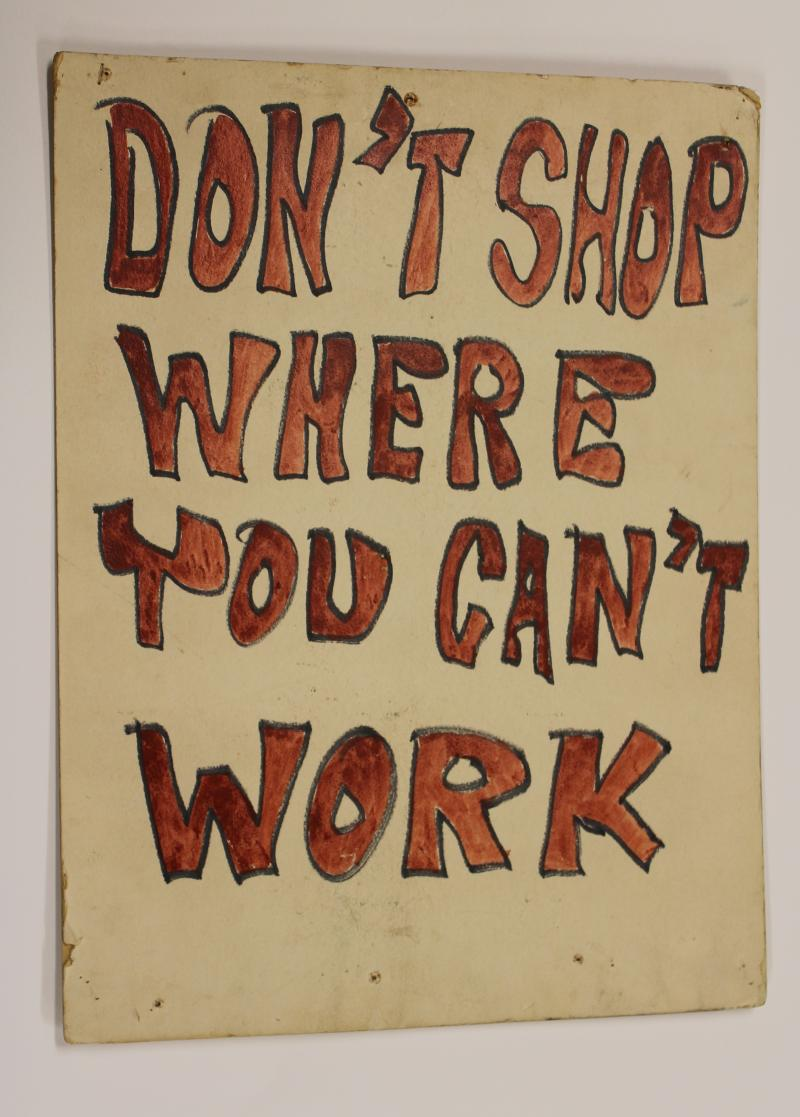 Seattle's Congress Of Racial Equality (CORE) used these signs in successful picketing and boycott against employment discrimination in October 1961. At the start only 6 out of 1,700 Safeway employees were black; three months later, there were 28.