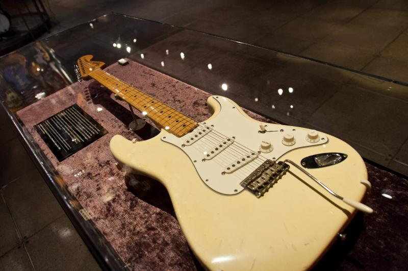 "Jimi Hendrix used this Fender Stratocaster to play his famous rendition of ""The Star Spangled Banner"" at Woodstock in 1969. It is also the guitar he used in his final concert in 1970."