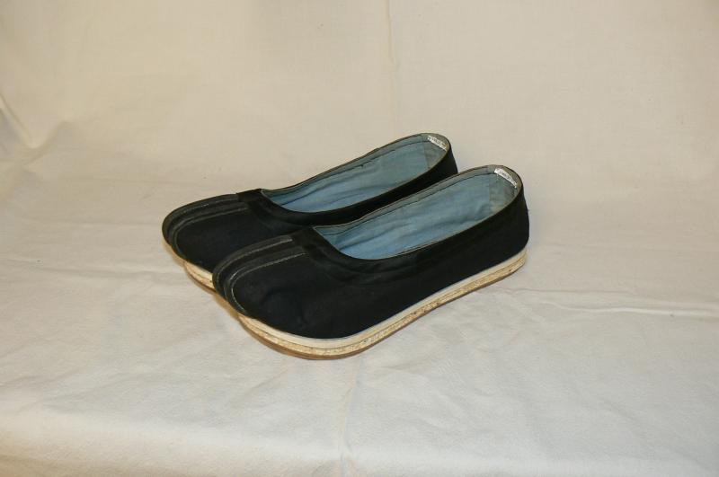 Shoes like these were imported from China only to be worn by Chinese citizens. These specific shoes were found in a warehouse in the 1960s. They became the inspiration for the Wing-Luke Museum.