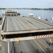The draw span of the SR 520 bridge opens during the annual maintenance and inspection closure.