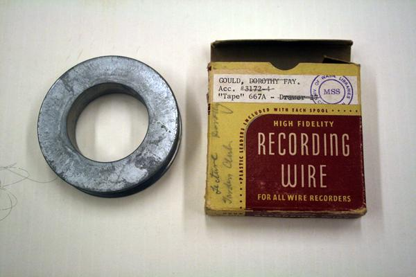 Wire recording, Gould Family, approximately late 1950s, from the collection of Seattle architect Carl Gould (who designed Suzzallo Library and many of the buildings on campus). From the Special Collections Archive, Allen Library, UW.