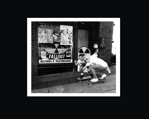 Band members of The Accused in front of Fallout Records, circa 1987.