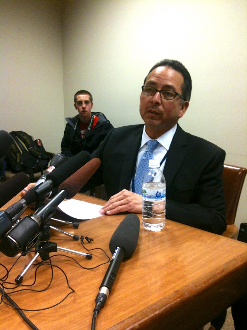 Seattle Public Schools Superintendent José Banda held a news conference about the MAP controversy on Jan. 23, 2012.