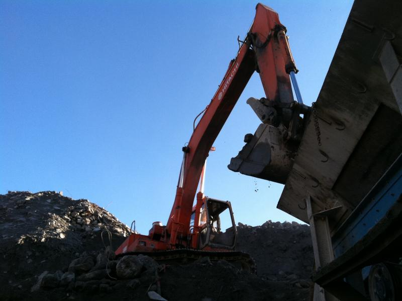 Loading concrete into the crusher at Contractors Concrete Recycling in Seattle