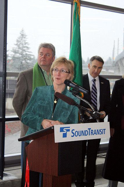 Sound Transit CEO Joni Earl at the Sea-Tac Link light rail opening ceremony in 2009.