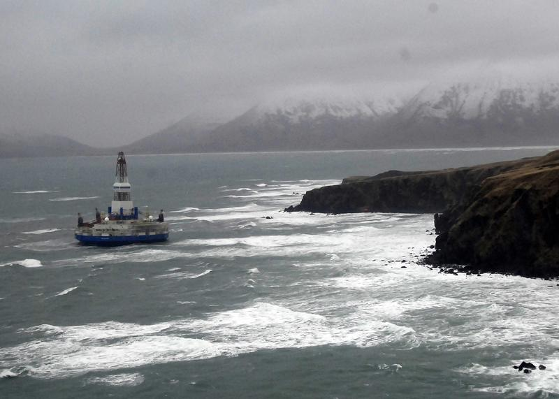 Shell Oil's Kulluk drill rig, hard aground off Alaska's Sitkalidak Island in January 2013