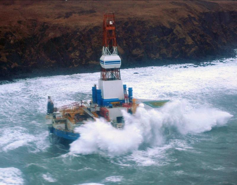 The Kulluk, hard aground off Alaska's Sitkalidak Island in January 2013