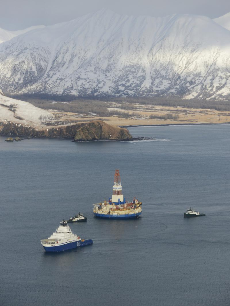 The Kulluk, under tow to Kiliuda Bay on Alaska's Kodiak Island after running aground.