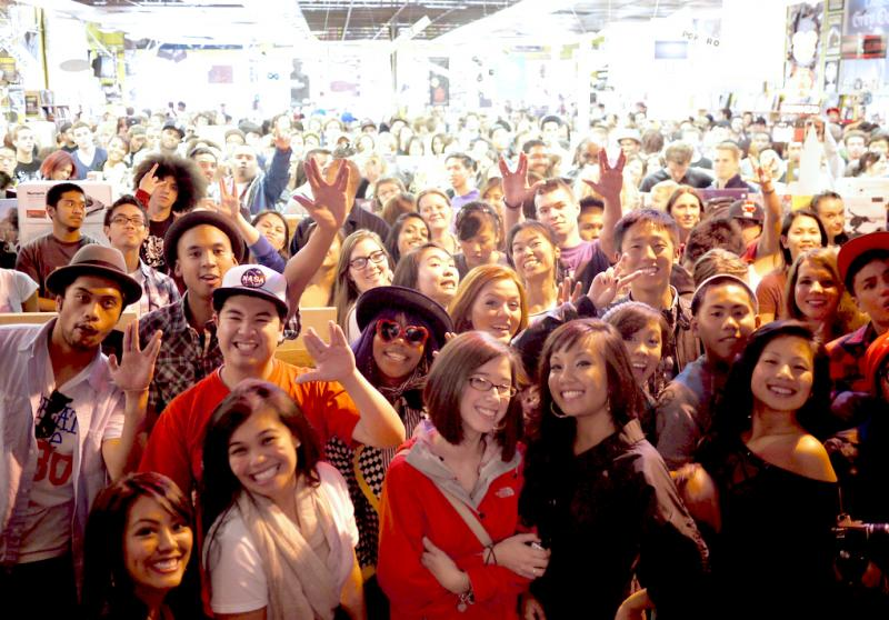 Crowd for N.E.R.D.'s in-store performance at Easy Street Queen Anne in 2010.