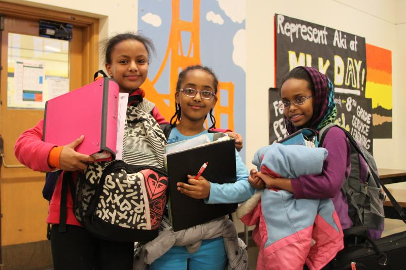 Sixth-graders Melat Feseha, Melat Ermyas and Fathi Mahdi are in their first year of Rainier Scholars.