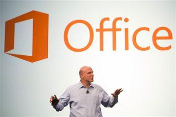 A promotional photograph of Steve Ballmer for the new Office software from Microsoft